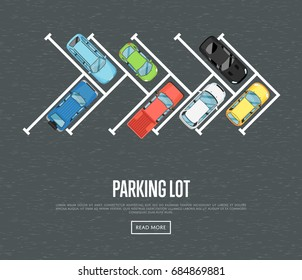 Parking lot poster in flat style. Urban traffic concept, top view parked cars in parking zone, outdoor auto park, free public parking, city transport services. Highway code banner vector illustration.