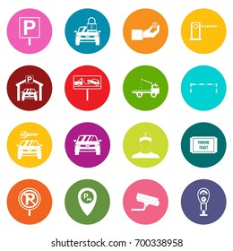 Parking set icons many colors set isolated on white for digital marketing