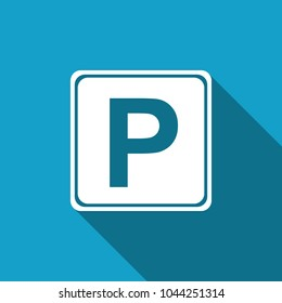 Parking sign icon isolated with long shadow. Street road sign. Flat design. Vector Illustration