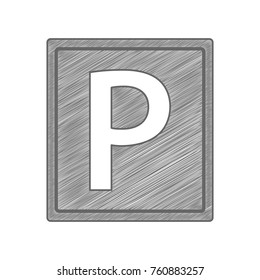Parking sign illustration. Vector. Shaded gray icon on white background. Isolated.