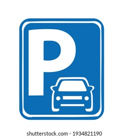 Parking sign.White traffic signs on blue background.Isolated vector illustration on a white background.
