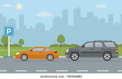 Parking lot with two cars on city background. Vector illustration.