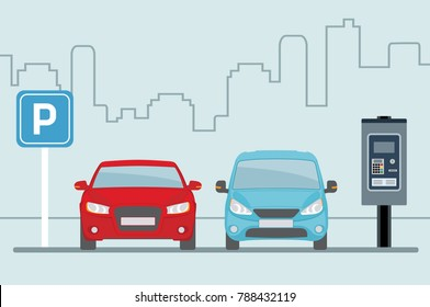 Parking lot with two cars and terminal for paying on light blue background. Flat style, vector illustration.