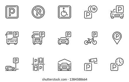 Parking Vector Line Icons Set. Parking Spaces, Car Park, Paid Parking. Editable Stroke. 48x48 Pixel Perfect.