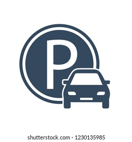 Parking zone. Sign parking for cars. Parking space. Vector illustration.