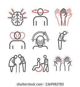 Parkinson's disease. Symptoms, Treatment. Line icons set. Vector signs.
