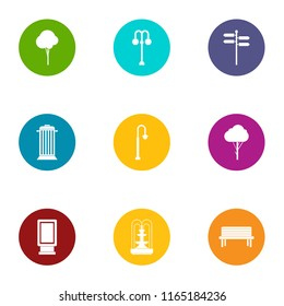 Parkland area icons set. Flat set of 9 parkland area vector icons for web isolated on white background