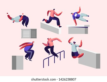 Parkour in City. Young Men Jumping Over Walls and Barriers, Urban Sports, Active Lifestyle, Sport Activity. Teenagers Tricks on Street, Free Runner Training Outdoors, Cartoon Flat Vector Illustration