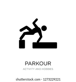 parkour icon vector on white background, parkour trendy filled icons from Activity and hobbies collection, parkour simple element illustration