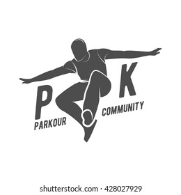 Parkour icons, badges, logo, design elements. Free running, youth, sport and lifestyle concept. City sport.