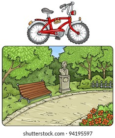 Park-Outdor-Landscape with Bicycle - Cartoon Illustrations -Clip art