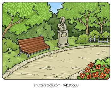 Park-Outdor-Landscape - Cartoon Illustration Background