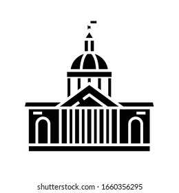 Parlament building black icon, concept illustration, vector flat symbol, glyph sign.
