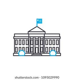 Parliament building linear icon concept. Parliament building line vector sign, symbol, illustration.