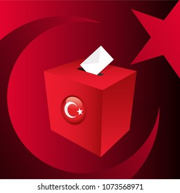 Parliamentary elections in Turkey 2018. Red Ballot Box and Turkish Flag Symbol.
