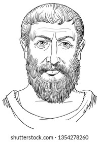 Parmenides of Elea (5th century BC) portrait in line art. He was a pre-Socratic Greek philosopher who held that the universe is single and unchanging and denied the existence of change and motion