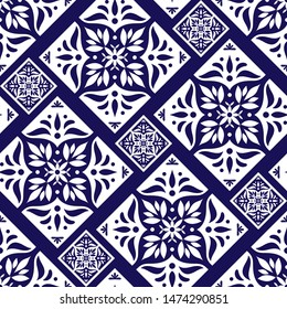 Parquet floor tile pattern vector seamless with ceramic print. Vintage mosaic motif texture. Puebla majolica background for kitchen floor or bathroom floor wall.