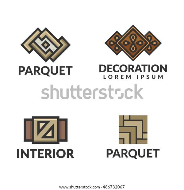 Parquet Logo Laminate Icon Interior Logo Stock Vector