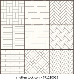 Parquet pattern. Seamless vector mosaic texture for wooden floor. Diagonal herringbone and straight templates. Set of black and white repeating tiles. Simple universal geometric patterns with cladding