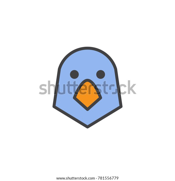 Parrot Bird Head Filled Outline Icon Stock Vector (Royalty