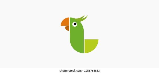 Parrot Bird Letter L Icon / Logo Template