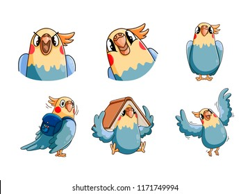 Parrot the character in different poses. A character for your