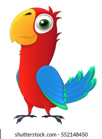 parrot. Cute chick with big and kind eyes. Cartoon character.