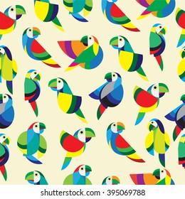 Parrot design pattern. Seamless pattern ivory background.