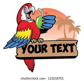 parrot drink a coconut water grip the text space