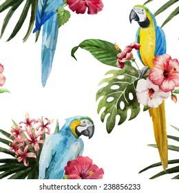 parrot, flowers, pattern