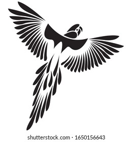 Parrot flying bird black silhouette drawn on white isolated background. Flat style. Tattoo, logo for the company, travel agency, emblem for the design of clothes, dishes, an album, paper. Vector