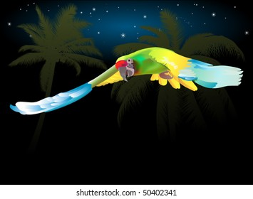 parrot flying through the jungle at night EPS-8