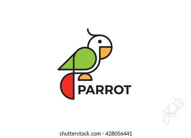 Parrot Logo design Geometric style vector template Linear style.
