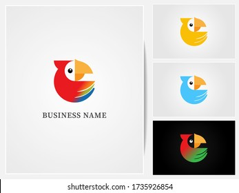 parrot logo design ,parrot icon with different colors