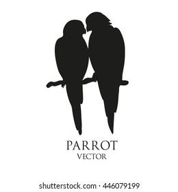 Parrot love  black vector silhouette
