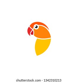 Parrot lovebird. Logo. Cute pet. Isolated parrot  on white background