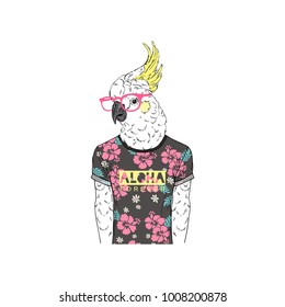 parrot man dressed up in summer tee shirt, anthropomorphic animal illustration