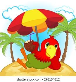 parrot resting on beach - vector illustration, eps