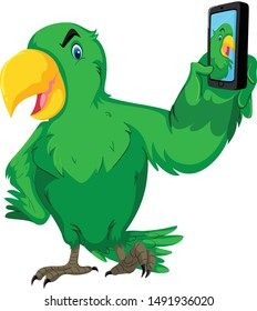 Parrot selfie with mobile cartoon vector at and illustration