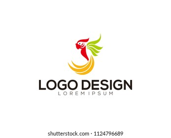 Parrot simply logo concept with colorful preview