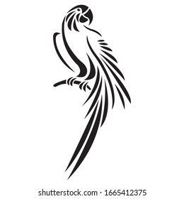 A parrot sitting on a branch of a black silhouette, drawn by various lines in a flat style. Bird tattoo, logo, emblem for fashion design, stickers, album, paper, banner, print. Isolated vector