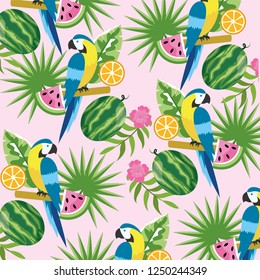 parrot with tropical watermelon and lemon background