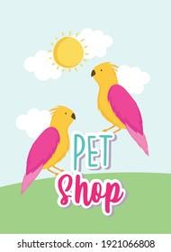 parrots birds cartoon animals lettering pet shop vector illustration
