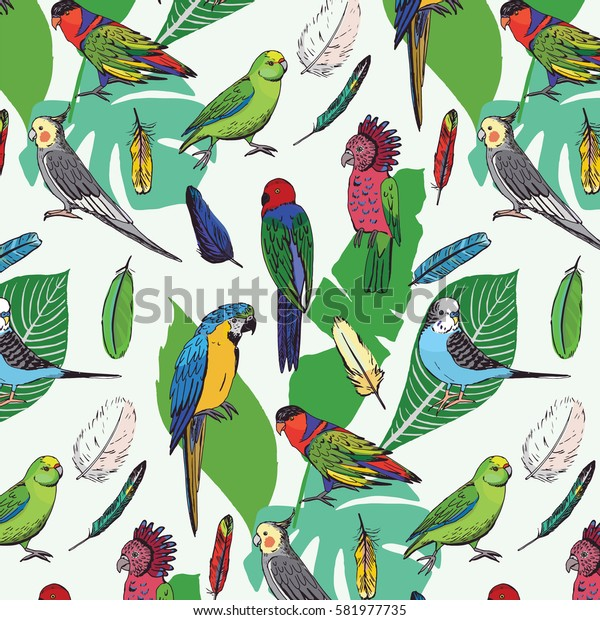 parrots birds with palm leaves pattern