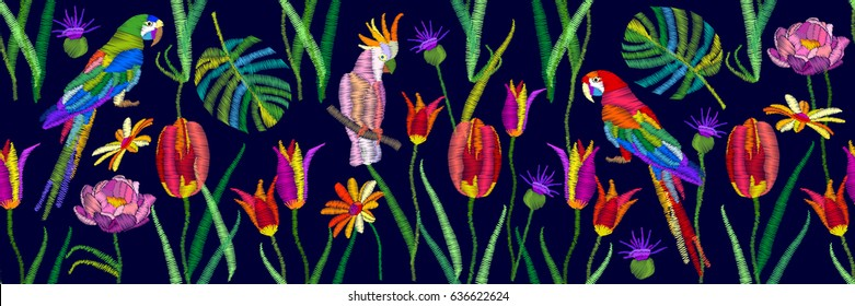Parrots and flowers. Panoramic border with birds, palm leaves, tulips and grass. Vector illustration for wall painting and fashion design.