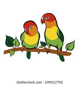 Parrots. Lovebirds. Isolated birds on white background. Tropical bird. Vector illustration
