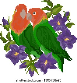parrots are Lovebirds, pixel art, flat design