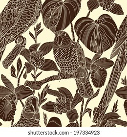 Parrots and tropical flowers. Vector seamless pattern