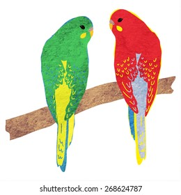 Parrots. Vector illustration with texture