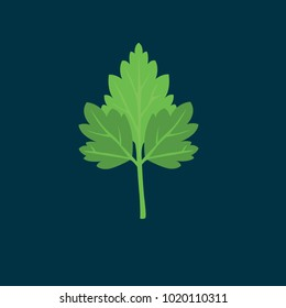 Parsley icon in flat style isolated vector illustration on blue transparent background.